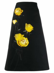 Prada rose print A-line skirt - Blue