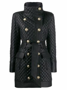 Balmain diamond quilted coat - Black