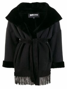Just Cavalli lamb fur trim jacket - Black