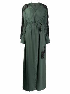 Just Cavalli embellished fringe wrap dress - Green