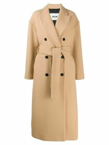 MSGM double-breasted virgin wool trench coat - Neutrals