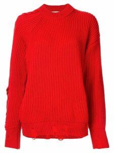 Nina Ricci distressed detail jumper - Red