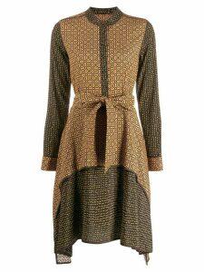 Steffen Schraut mandarin collar midi dress - Brown
