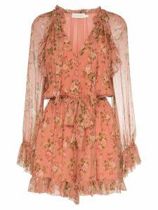 Zimmermann floral tie-neck mini dress - Pink