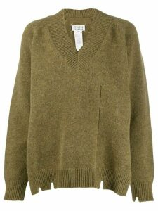 Maison Margiela distressed V-neck sweater - Green