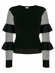 Red Valentino ruffle panelled sleeve top - Black