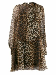 Nº21 leopard sheer short dress - Brown