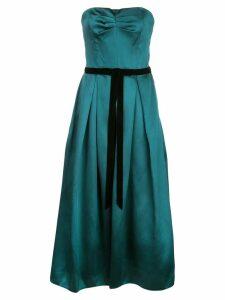 Marchesa Notte satin flared dress - Green