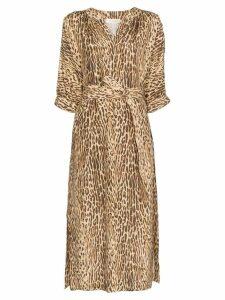 Zimmermann leopard-print midi dress - Brown