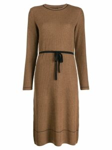 A.P.C. belted knit midi dress - Brown