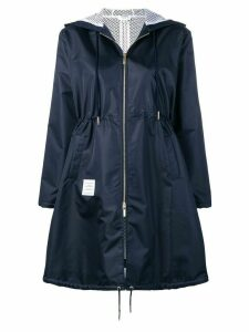 Thom Browne Center Back Long Hooded Navy Parka - Blue