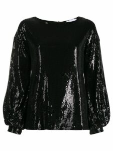 Dondup sequinned puff-sleeve blouse - Black