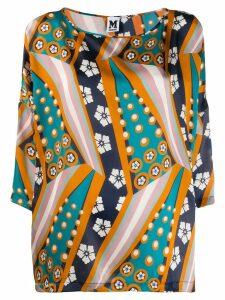 M Missoni printed cropped sleeve blouse - Blue