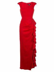 Badgley Mischka asymmetric ruffle gown - Red