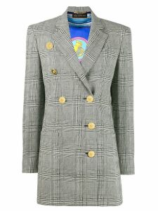Versace double-breasted check blazer - Black