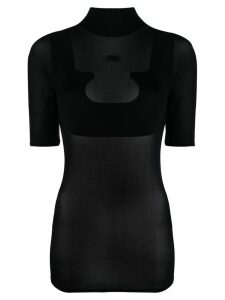 Courrèges sheer high neck T-shirt - Black