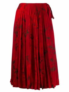 Valentino pleated floral print midi skirt - Red