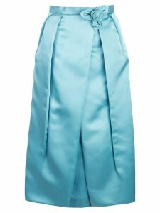 Prada corsage detail inverted pleat skirt - Blue