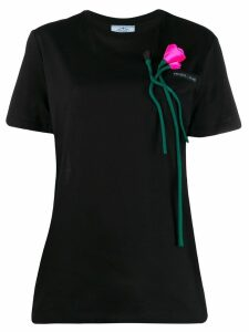 Prada floral applique T-shirt - Black