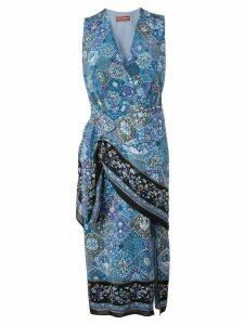 Altuzarra mosaic print wrap-around dress - Blue