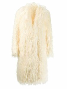 Paco Rabanne faux fur oversized coat - White