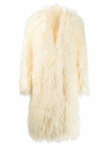Paco Rabanne faux fur oversized coat - White