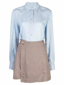 Derek Lam 10 Crosby Long Sleeve Mixed Media Shirt Dress with Twil Wrap