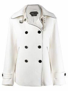 Tom Ford buckled collar peacoat - White