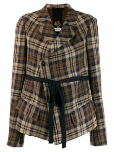 High by Claire Campbell checked cropped jacket - Brown