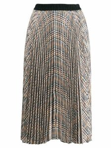 Steffen Schraut pleated check skirt - White