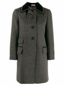 Miu Miu checked single breasted coat - Black