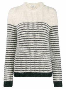 Saint Laurent striped crewneck jumper - White