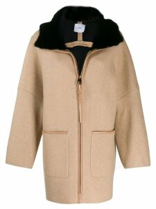 Agnona hooded zipped coat - NEUTRALS
