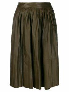 Yves Salomon pleated skirt - Brown