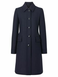 Burberry Double-faced Wool Cashmere Blend Coat - Blue