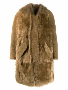 Yves Salomon oversized fur coat - Neutrals