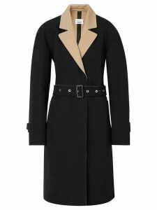 Burberry Two-tone Tropical Gabardine Belted Car Coat - Black