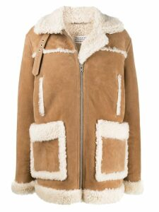 Maison Margiela zipped shearling coat - Neutrals