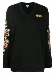 Kenzo floral embroidered V-neck jumper - Black