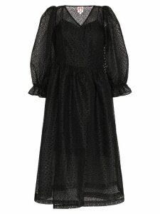 Shrimps Trinity floral mesh dress - Black