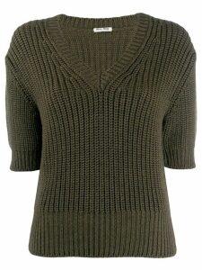 Miu Miu v-neck knitted top - Green