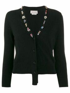Alexander McQueen crystal embellished wool cardigan - Black