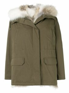 Yves Salomon Army reversible hooded coat - Green