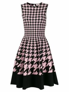 Alexander McQueen houndstooth flared dress - Black