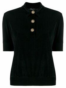 Balmain velvet piqué polo shirt - Black