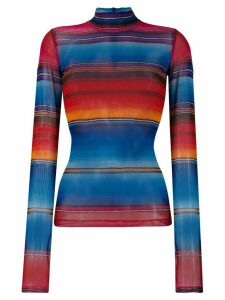 House of Holland striped turtle neck top - Blue