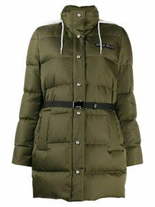 Miu Miu belted puffer jacket - Green