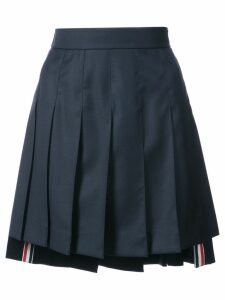 Thom Browne Dropped-Back Mini Pleated Skirt in Navy Super 130's Wool