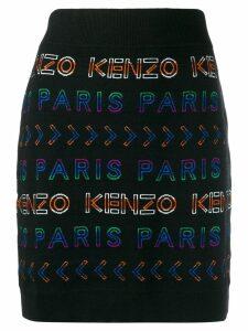 Kenzo logo intarsia knitted skirt - Black