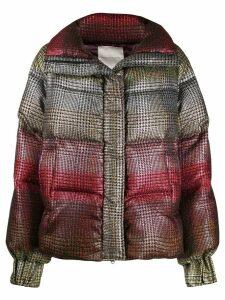Marco De Vincenzo tartan puffer jacket - Red